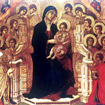 Virgin and Child Enthroned with Saints by DUCCIO DI BUONINSEGNA (19-10 principal panel of Maesto Altarpiece)