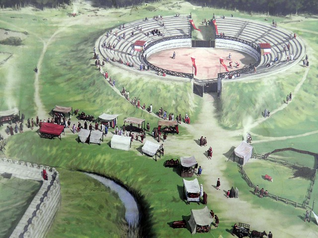 The Roman Amphitheatre (reconstruction drawing), Calleva Atrebatum