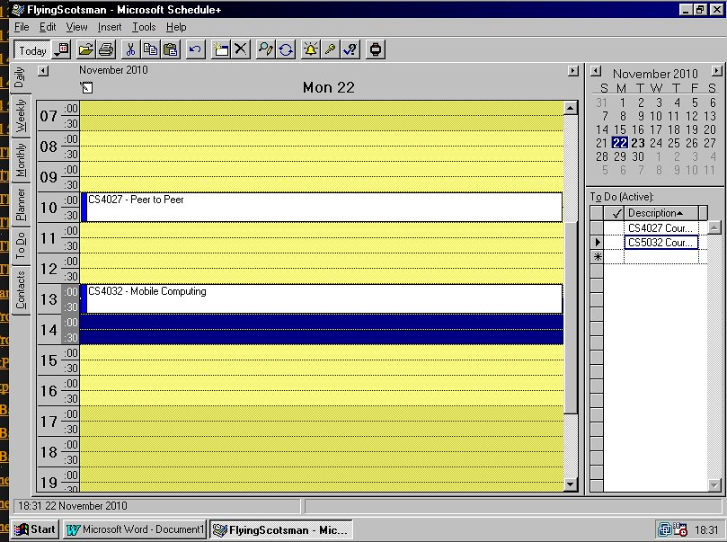 Microsoft Schedule+ for Windows 95 slightly populated