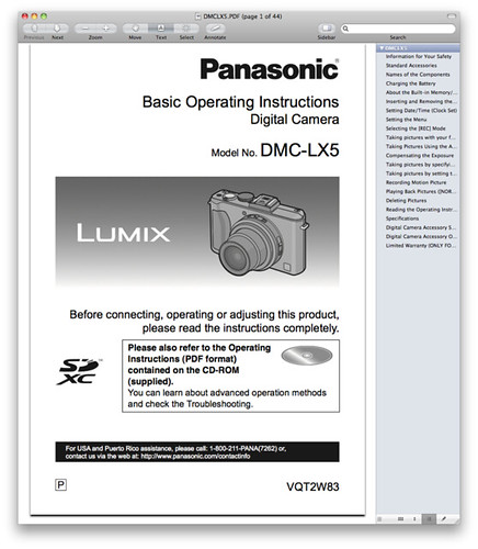 Panasonic LX5 Manual -- Basic Operating Instructions
