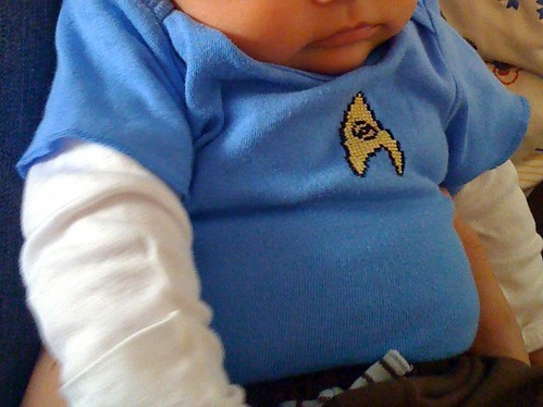 Star Trek science onesie in action