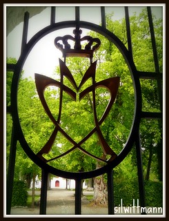 symbol of royalty at the gate of Castle Mogeltonder, the summer residence of Prince Joachim and Princess Marie of Denmark