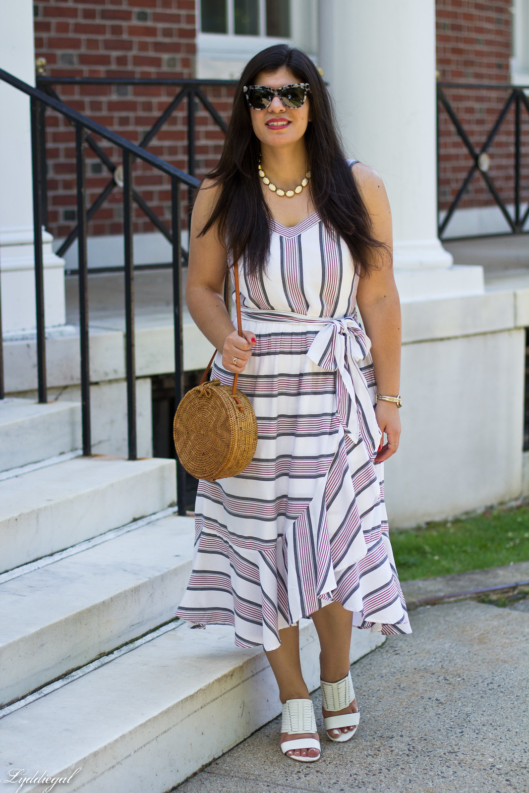 striped ruffle dress, round straw bag, white mules-1.jpg