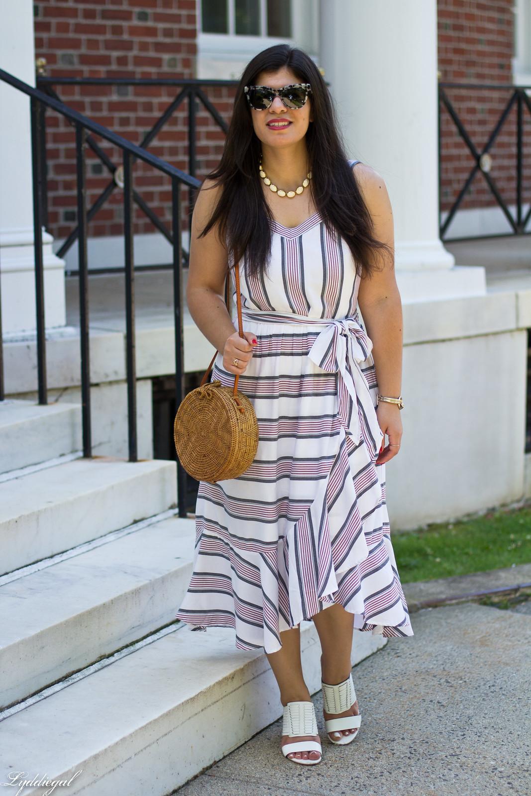 striped ruffle dress, round straw bag, white mules-1.jpg