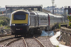 Snaking across the pointwork: High Speed Train at Cardiff Central