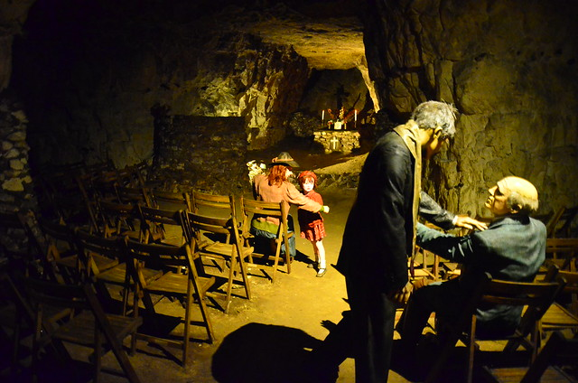 A church service in Chislehurst Caves during World War 2, recreated with wax figures