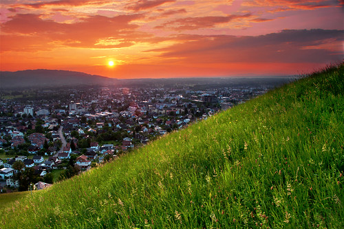 houses sunset sun mountain green colors landscape austria dornbirn nikon bright hill valley d300