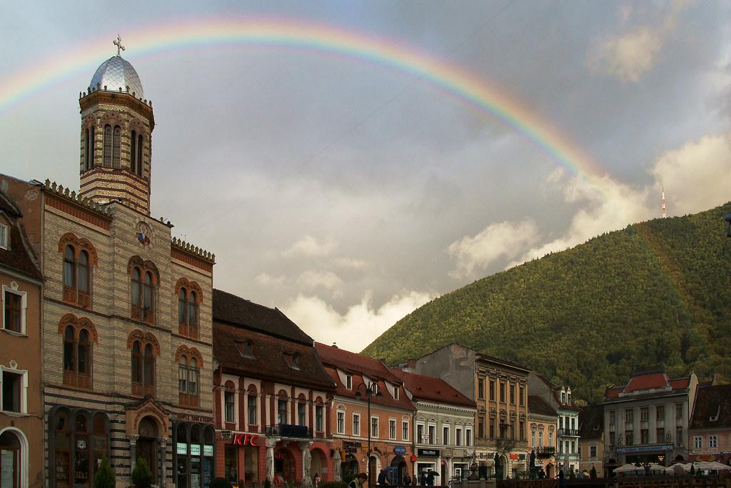 Rainbow over the Dormition of the Theotokos Church in Braşov