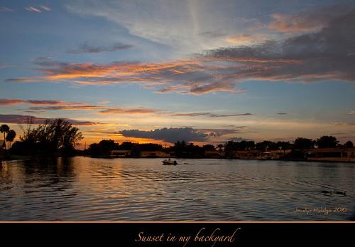 sunset orange lake home clouds backyard florida miamilakes