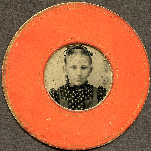 Orange Round Matted Tintype by depthandtime