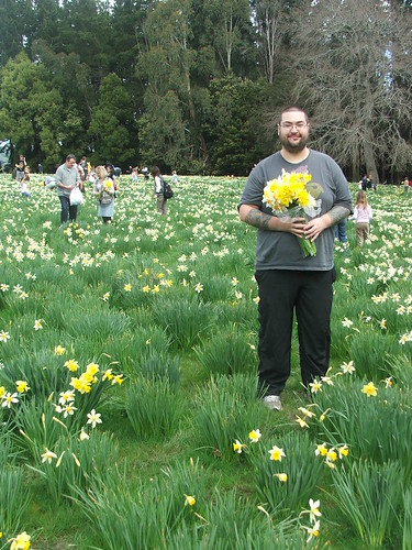 Tom at Middle Run with Daffodils