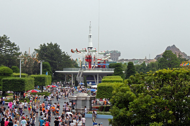 View over Tomorrowland from Space Mountain while waiting to ride