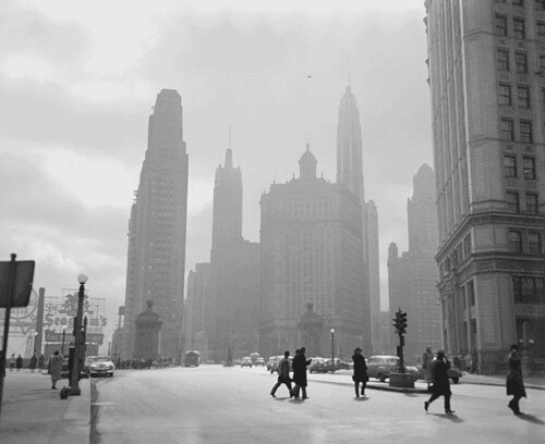 Photograph of Michigan Avenue in Chicago, Illinois, ca. 1951