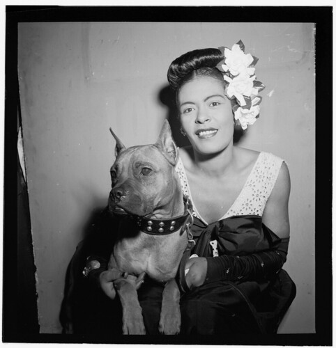 [Portrait of Billie Holiday and Mister, Downbeat, New York, N.Y., ca. Feb. 1947] (LOC)