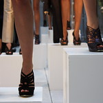 live models on cubes. fashion shoes