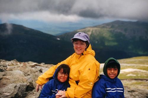 The kids and I on Mt. Washington, 2001.