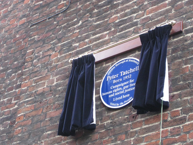 Peter Tatchell blue plaque - Peter Tatchell. Born 1952. Campaigner for human rights, gay freedom and social justice. Lived Here.