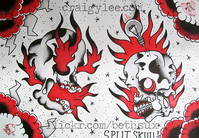 split skull tattoo flash | Flickr - Photo Sharing!