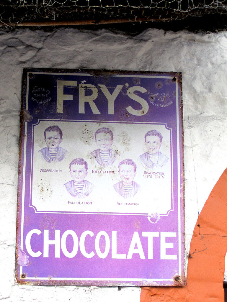 Frys Five Boys Chocolate Enamel Sign Guess Where Isle