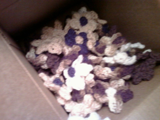97 crocheted flowers for the wedding centerpieces 5 more to go