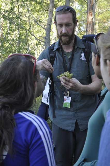 Native Flora Garden curator Uli Lorimer displaying a handful of Sphagnum moss. Photo by Anjali Satyu.