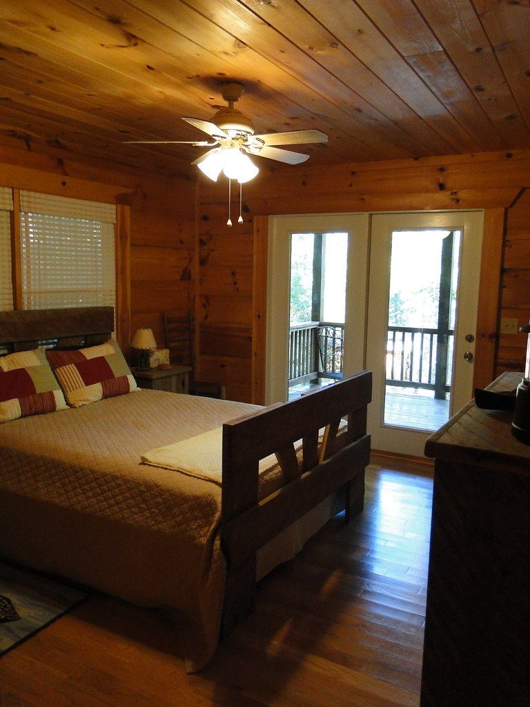 Master bedroom with locally made rustic furniture