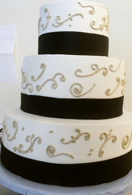 Scroll Wedding Cake with a Chocolate Band