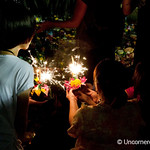 Sparklers & Reflection during Loi Krathong Festival - Bangkok, Thailand