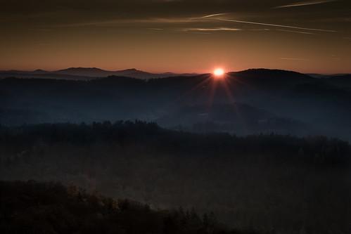 vacation germany eisenach wartburg thüringen sunset sky nature warm landscape light winter trees