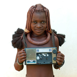 Himba girl with her radio - Angola