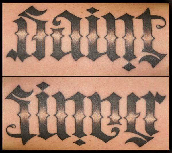 saint sinner ambigram lettering tattoo flickr photo