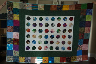 Chris and Sheila were kind enough to bring over the quilt for a photograph; I never got a final photo of their quilt before I gave it away.  Blog entry: domesticat.net/quilts/blinkenlights