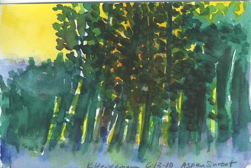 watercolor painting sketch cabin colorado sketchbook aspens mancos sanjuannationalforest artistinresidence nationalforestservice laplatas artistresidency roadtrip2010 aspenguardstation