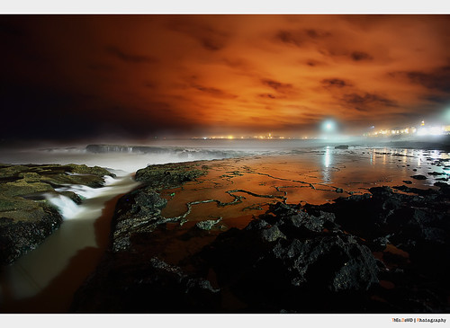 ocean africa city light sea sky cloud mer black reflection water night clouds canon dark eos rocks exposure view ciel morocco maroc marocco 5d manual nuages rabat afrique blending atlantique