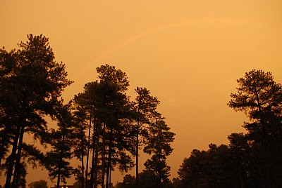 light sunset weather yellow outside rainbow wierd