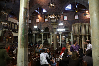 Inside a coptic church in old Cairo