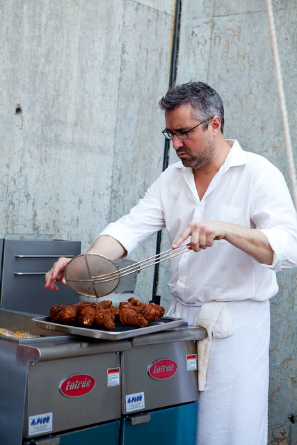 Fresh, hot fried chicken at Robert Newton of Seersucker, Brooklyn, NY