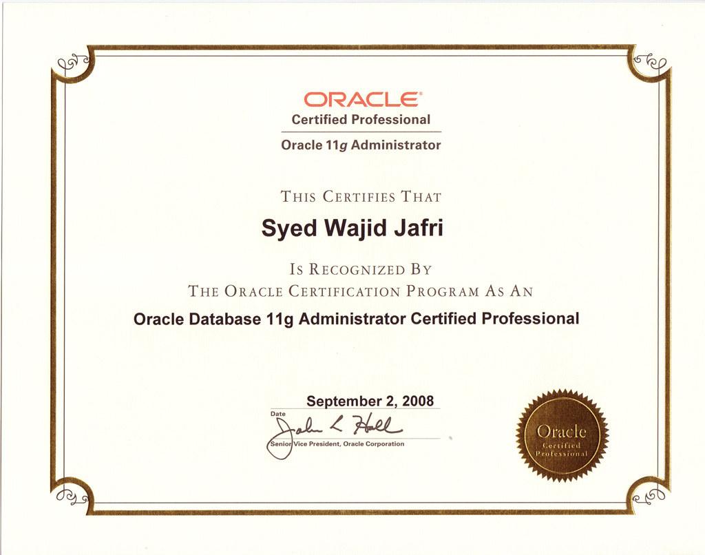 oracle certified database administrator sample resume