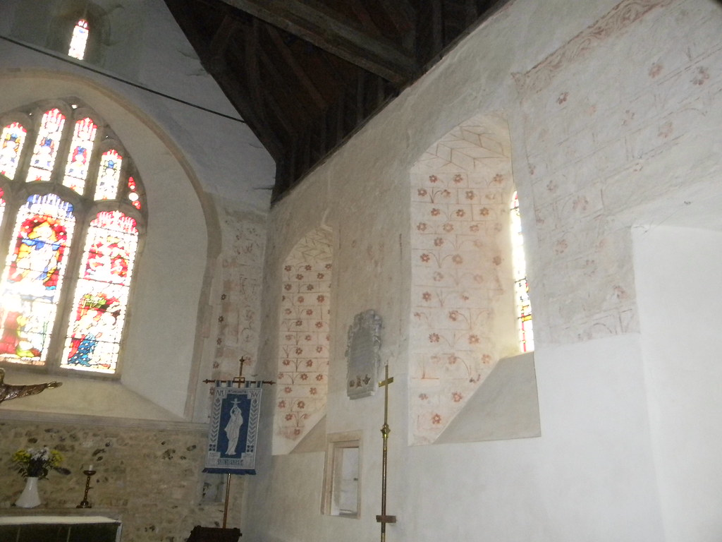Inside the church, Silchester Medeval wall decorations. Mortimer to Aldermaston