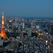 Tokyo Skyline at Twilight - Tokyo Tower and Tokyo Bay by meanderingmouse