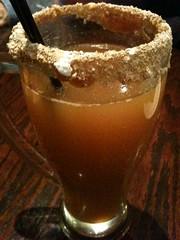 Hot cider & vanilla vodka w/a streussal & caramel rim