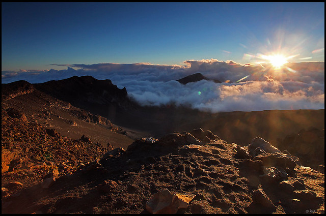 Sunrise over the crater