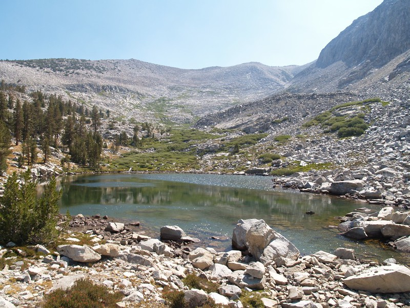 One of several small Horseshoe Lakes, as we climbed Horseshoe Creek. The small valley, right-of-center, is our eventual destination. Windy Ridge is seen above the lake.
