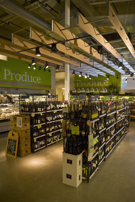 Grocery Store Wine Area Hanging Wood Trellis Market