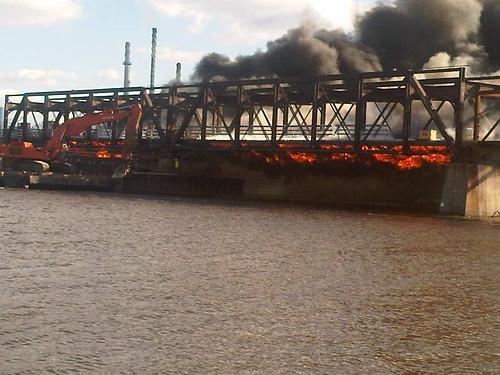 Rock Island Swing Bridge Fire