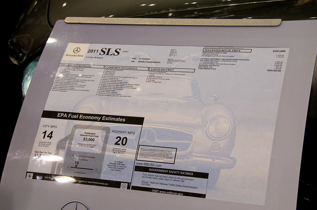 2011 mercedes sls window sticker only 205k explore for Mercedes benz window sticker