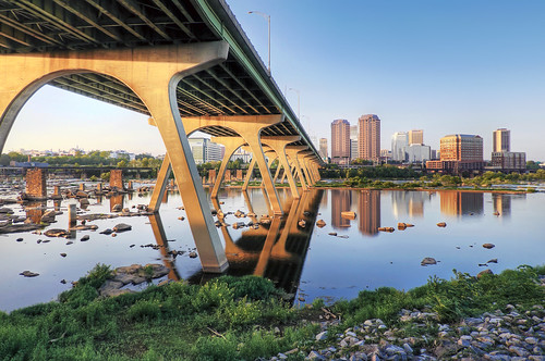 street bridge blue sunset summer sky skyline river landscape manchester ma james virginia us nikon noir day cityscape sigma arches richmond clear va 9th hdr rva waterscape fallline skynoir