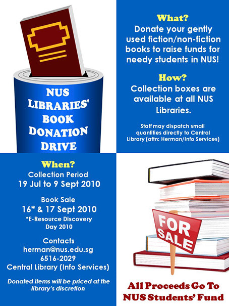 NUS Libraries' Book Donation Drive poster | Flickr - Photo Sharing!