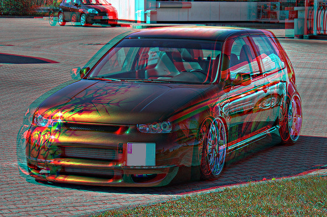 3D Anaglyph - VW Golf IV 1.8 Turbo GTI Airbrush Tuning Car