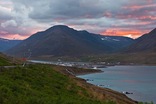 houses sunset sea sky house clouds town iceland sjór hús ský himinn sólarlag fjöll fjall bær ólafsfjörður
